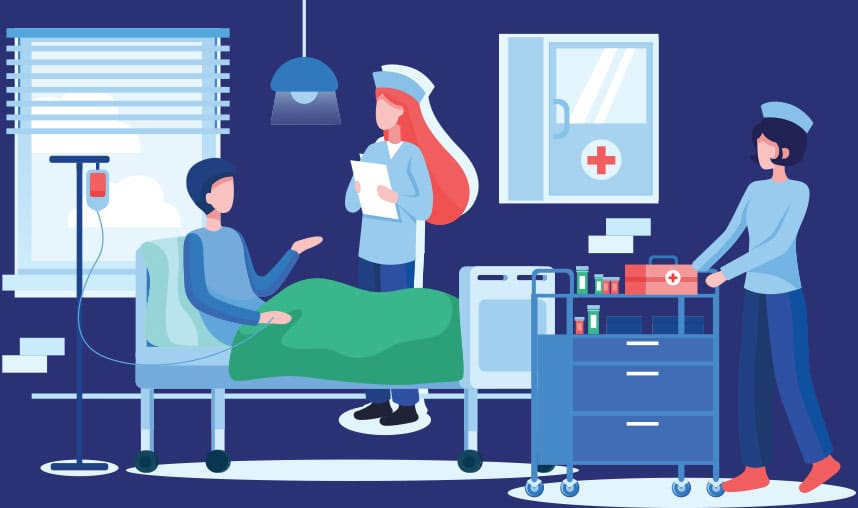 Illustration of Hospital Setup, Patient sitting on the bed, rehab physician holding notepad on hand, and a staff nurse standing behind them