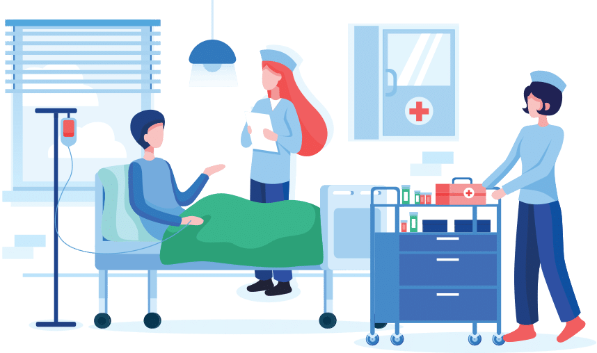 Vector illustration of care given for a patient affected by stroke