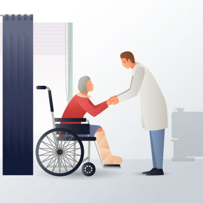 Vector image of physiotherapy doctor caring his spinal cord injured patient