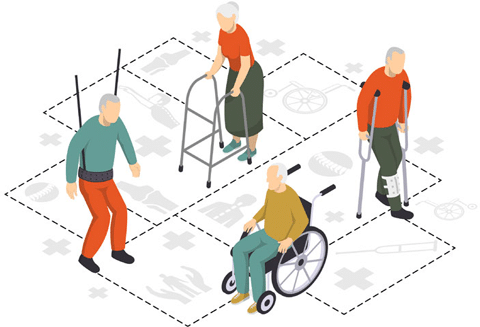 Illustration of recovery practices of a person after a brain injury