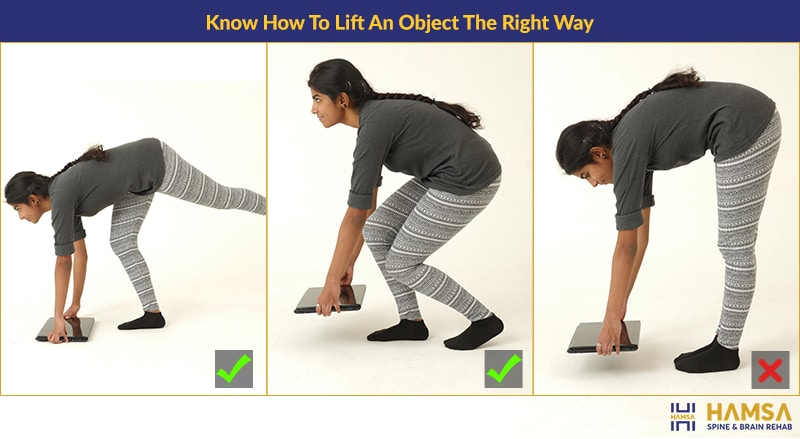Image representation of  how to lift the object in the right way