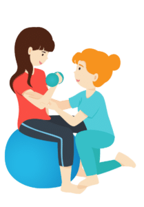 Vector illustration of nurse helping stroke patient to do exercise